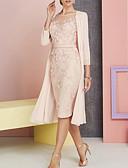 hesapli Gelin Annesi Elbiseleri-Sütun / İki Parça Taşlı Yaka Diz Boyu Şifon / Dantelalar Aplik ile Gelin Annesi Elbisesi tarafından LAN TING Express / Şal dahildir