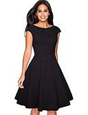 hesapli Günlük Elbiseler-Kadın's sofistike Zarif A Şekilli Little Black Kayakçı Elbise - Solid, Dantelli Diz-boyu