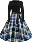povoljno Vintage kraljica-Žene Osnovni Swing kroj Haljina Karirani uzorak Do koljena