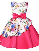 זול שמלות לילדות פרחים-גזרת A באורך  הברך שמלה לנערת הפרחים  - פוליאסטר / תערובת כותנה\פוליאסטר ללא שרוולים עם תכשיטים עם דוגמא \ הדפס / חגורה / קפלים על ידי LAN TING Express