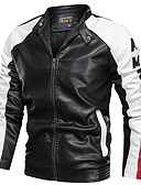 cheap Men's Jackets & Coats-Men's Daily Regular Leather Jacket, Color Block Stand Long Sleeve PU Blue / Black / Red