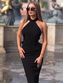 povoljno Haljine za NG-Žene Sofisticirano Elegantno Bodycon Korice Little Black Haljina - Otvorena leđa Mašna Kolaž, Jednobojni Midi
