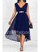 povoljno Ženska odjeća-Žene Party A kroj Haljina Jednobojni V izrez Maxi
