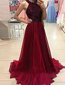 זול שמלות ערב-גזרת A קולר שובל סוויפ \ בראש שיפון נוצץ וזוהר ערב רישמי שמלה עם פרטים מקריסטל על ידי LAN TING Express