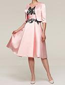 hesapli Gelin Annesi Elbiseleri-A-Şekilli / İki Parça Taşlı Yaka Diz Boyu Saten Aplik ile Gelin Annesi Elbisesi tarafından LAN TING Express / Şal dahildir