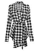 povoljno Ženski kaputi i baloneri-Žene Dnevno Vintage Jesen Dug Kaput, Houndstooth V izrez Dugih rukava Poliester Crn