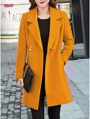 hesapli Kadın Kabanları ve Trençkotları-Kadın's Günlük Temel Uzun Kaban, Solid Yuvarlak Yaka Uzun Kollu Pamuklu Siyah / Sarı / Havuz M / L / XL