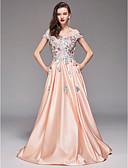 billige Lange brudepikekjoler-A-linje Løse skuldre Gulvlang Sateng Formell kveld Kjole med Broderi av TS Couture®