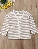 hesapli Kız Çocuk Üstleri-Çocuklar Toddler Genç Kız Actif Temel Solid Çizgili Uzun Kollu Bluz Siyah