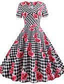 povoljno Vintage kraljica-Žene Ulični šik Swing kroj Haljina - Print, Prugasti uzorak Cvjetni print Do koljena