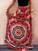 זול חצאיות לנשים-גיאומטרי - חצאיות מקסי נדנדה בוהו בגדי ריקוד נשים אודם S M L