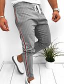cheap Men's Pants & Shorts-Men's Basic EU / US Size Chinos Pants - Striped Black Navy Blue Gray US32 / UK32 / EU40 US36 / UK36 / EU44 / Drawstring