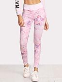 billiga T-shirt-Dam Grundläggande Leggings - Blommig, Tryck Medium Midja Rodnande Rosa M L