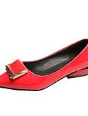 זול טישרט-בגדי ריקוד נשים נעליים ללא שרוכים עקב עבה PU קיץ & אביב שחור / לבן / אדום