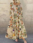 cheap Dresses For Date-Women's Boho Elegant Swing Dress - Floral Print Black Fuchsia Orange S M L XL