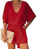 זול סרבלים ואוברולים לנשים-S M L אחיד, Rompers ישר / רגל רחבה שחור יין כחול ים בסיסי בגדי ריקוד נשים
