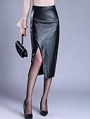 hesapli Kadın Etekleri-Kadın's Büyük Bedenler PU Bandaj Etekler - Solid Siyah M L XL