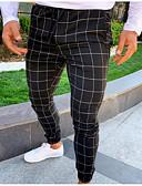 זול מכנסיים ושורטים לגברים-בגדי ריקוד גברים בסיסי רזה צ'ינו מכנסיים - משובץ אפור כהה כחול נייבי אפור בהיר US40 / UK40 / EU48 US42 / UK42 / EU50 US44 / UK44 / EU52
