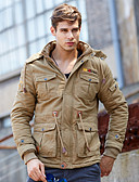 cheap Men's Jackets & Coats-Men's Daily Vintage / Military Fall & Winter Short Jacket, Solid Colored Hooded Long Sleeve Cotton Black / Army Green / Khaki