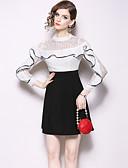 hesapli Kadın Elbiseleri-Kadın's Zarif A Şekilli Elbise - Solid, Dantel Fırfırlı Kırk Yama Mini
