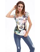 hesapli Bluz-Kadın's Tişört Portre Beyaz