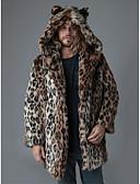 povoljno Muške jakne i kaputi-Muškarci Dnevno Osnovni Jesen zima Dug Faux Fur Coat, Leopard S kapuljačom Dugih rukava Umjetno krzno Braon