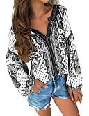 billige T-skjorter til damer-Bluse Dame - Geometrisk, Trykt mønster Grunnleggende Hvit
