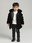 povoljno Obiteljski komplet odjeće-Djeca Dječaci Osnovni Jednobojni Normalne dužine Umjetno krzno Jakna i kaput Crn