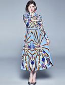 abordables Chemises Femme-Femme Elégant Maxi Trapèze Robe - Imprimé, Abstrait Bleu M L XL Manches Longues