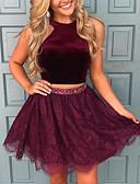 billige Todelte kjoler-A-linje Grime Kort / mini Blonder / Sateng To deler Formell kveld Kjole med Krystalldetaljer av LAN TING Express