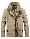 hesapli Erkek Ceketleri ve Kabanları-Erkek Günlük Temel Sonbahar Kış AB / ABD Beden Normal Ceketler, Solid Dik Yaka Uzun Kollu Polyester Havuz / Ordu Yeşili / Haki