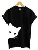 hesapli Tişört-Kadın's Tişört Kırk Yama, Solid / Hayvan Temel Kedi Siyah