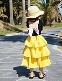 hesapli Kız Çocuk Etekleri-Çocuklar Genç Kız Temel Solid Etek Sarı