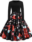 hesapli Vintage Kraliçesi-Kadın's Sokak Şıklığı Çan Elbise - Soyut, Desen Diz-boyu Noel Baba Kardan Adam