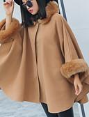 hesapli Kadın Kabanları ve Trençkotları-Kadın's Günlük Sonbahar Kış Normal Kaban, Solid Dik Yaka 3/4 Kol Polyester Gri / Haki