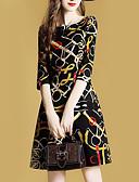 hesapli Kadın Elbiseleri-Kadın's Temel Kombinezon Kılıf Elbise - Geometrik Diz-boyu