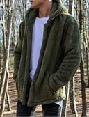 hesapli Erkek Ceketleri ve Kabanları-Erkek Günlük AB / ABD Beden Normal Ceketler, Solid Kapşonlu Uzun Kollu Polyester Siyah / Bej / Ordu Yeşili