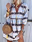 hesapli Kadın Elbiseleri-Kadın's Sokak Şıklığı A Şekilli Elbise - Geometrik Diz üstü