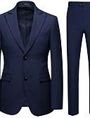 povoljno Smokinzi-Muškarci odijela, Jednobojni Klasični rever Poliester Bež / Navy Plava / Svijetlosiva / Slim