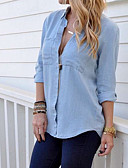 ราคาถูก เสื้อเชิ้ตสำหรับสุภาพสตรี-สำหรับผู้หญิง เชิร์ต พื้นฐาน สีพื้น สีน้ำเงิน