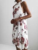 hesapli Mini Elbiseler-Kadın's Kombinezon Elbise - Çiçekli Diz-boyu