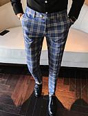 זול מכנסיים ושורטים לגברים-בגדי ריקוד גברים בסיסי / בוהו חליפות מכנסיים - משובץ קלאסי פול אפור US34 / UK34 / EU42 US36 / UK36 / EU44 US38 / UK38 / EU46