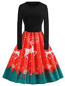 hesapli Vintage Kraliçesi-Kadın's Kombinezon Çan Elbise - Geometrik Diz-boyu