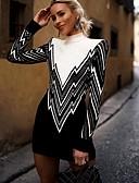 povoljno Nježna čipka-Žene Geometrijski oblici Dugih rukava Pullover, Uz vrat Crn S / M / L