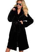 povoljno Ženske kaputi od kože i umjetne kože-Žene / / Dnevno Osnovni Dug Faux Fur Coat, Jednobojni Odbačenost Dugih rukava Umjetno krzno Crn