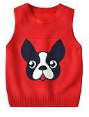 お買い得  女児 セーター&カーディガン-子供 幼児 女の子 活発的 ベーシック 犬 ソリッド 幾何学模様 プリント プリント ノースリーブ セーター&カーデガン イエロー