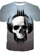 hesapli Erkek Tişörtleri ve Atletleri-Erkek Pamuklu Yuvarlak Yaka İnce - Tişört 3D / Kuru Kafalar Büyük Bedenler Gri