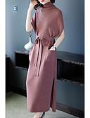 hesapli Mini Elbiseler-Kadın's sofistike Zarif Örgü İşi Elbise - Solid, Püskül Bölünmüş Büzgülü Maksi Kar Tanesi Kardan Adam Fantastik Canavarlar