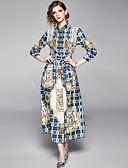 abordables Chemises Femme-Femme Bohème Maxi Trapèze Robe - Imprimé, Tartan Bleu M L XL Manches Longues