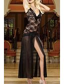 זול חלוקים & Sleepwear-בגדי ריקוד נשים סקסית קומביניזונים וכותנות Nightwear תחרה / רשת, אחיד / רקמה שחור לבן אודם S M L